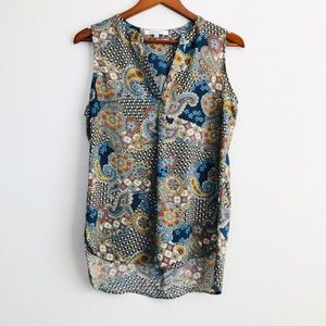 Rose+olive paisley flowy tank top - SMALL